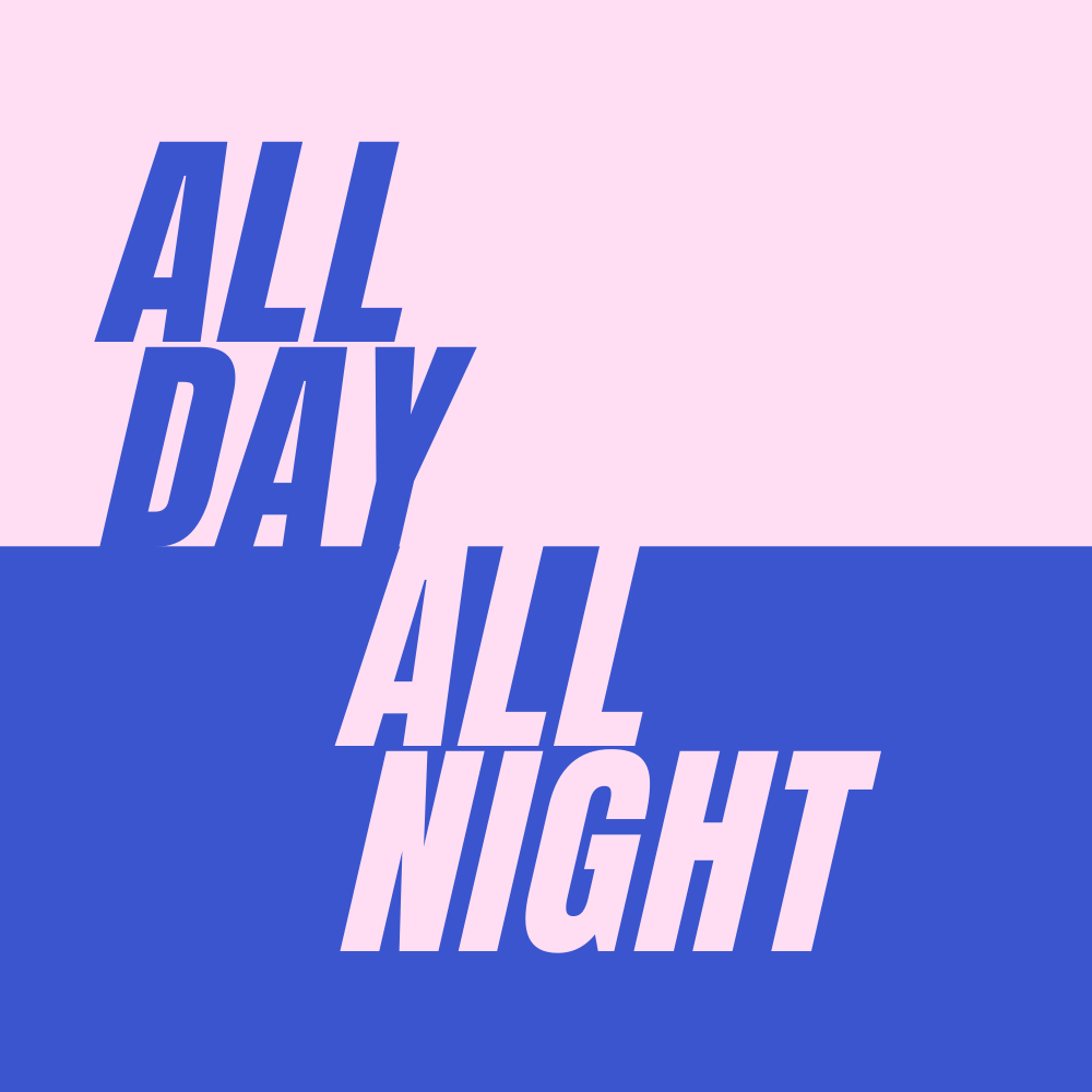 All Day All Night logo - pink and blue