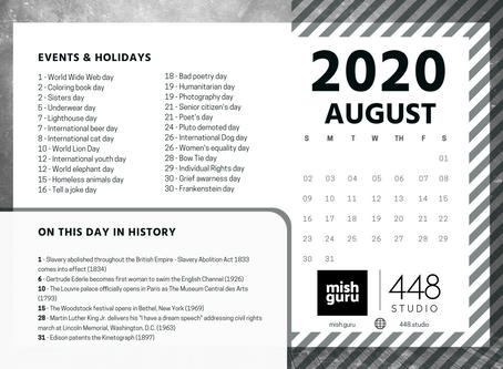 August Content Inspiration Calendar