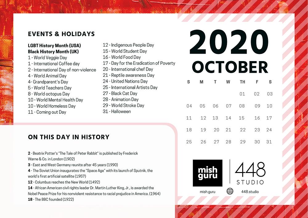 October content calendar