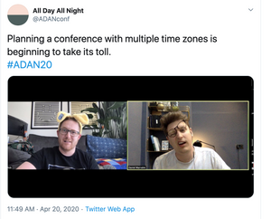 Rob and dan look perplexed in a tweet about planning a conference with multiple timelines.