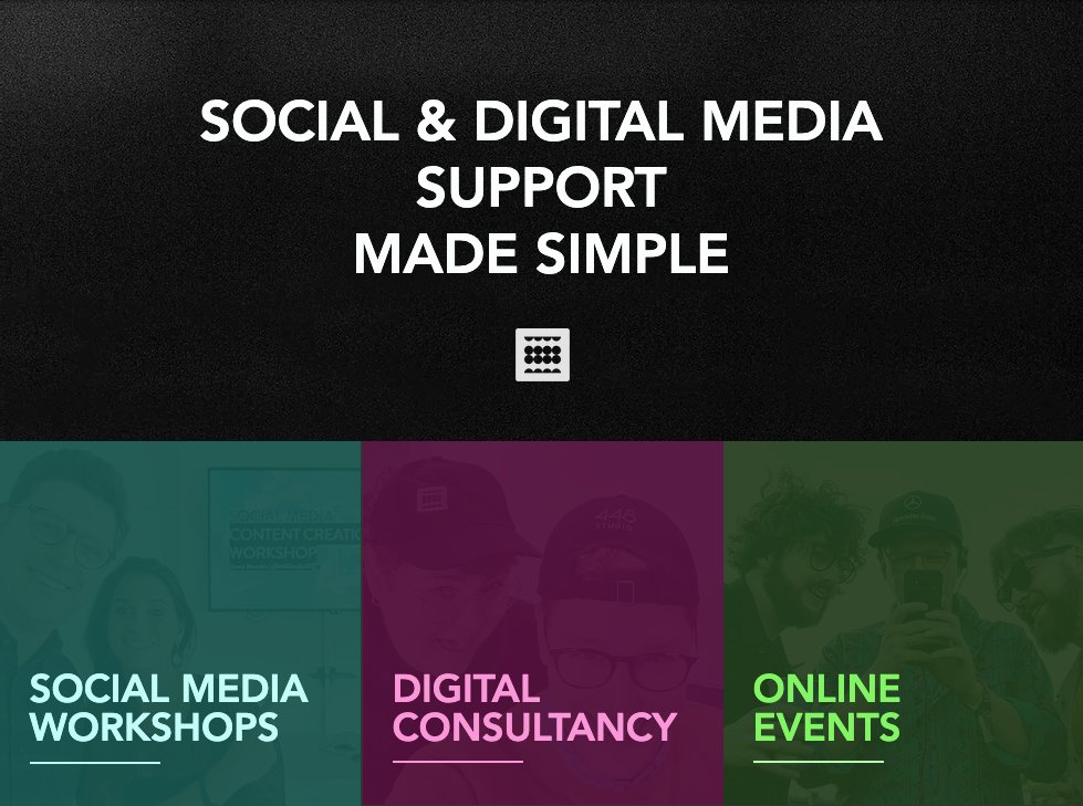 Screengrab of new website with the headline 'social and digital media support made simple'.