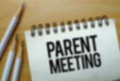 Parent Meeting text written on a noteboo