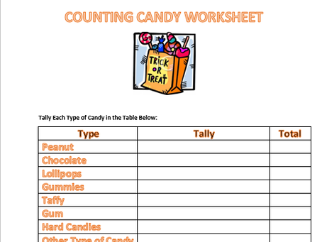 Free Counting Candy Worksheet
