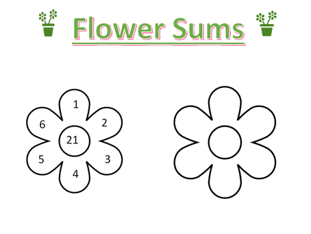 Flower Sums Worksheet
