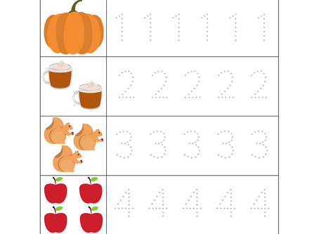 Trace the Numbers Worksheet for Fall