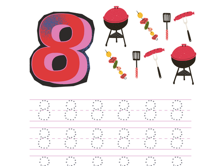 Trace the Number Worksheet for the Number Eight