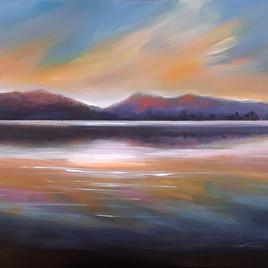 Sunset over lake Te Anau