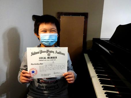 ♪小金井市ピアノ教室♪ACM米国ギルド・ピアノ検定合格おめでとう!!