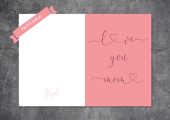 Pastel Color Printable Mother's Day Greeting Card