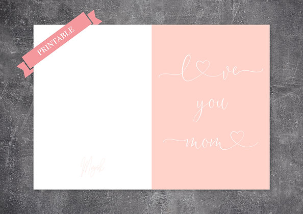 Cute Pink Pastel Color Printable Mother's Day Greeting Card