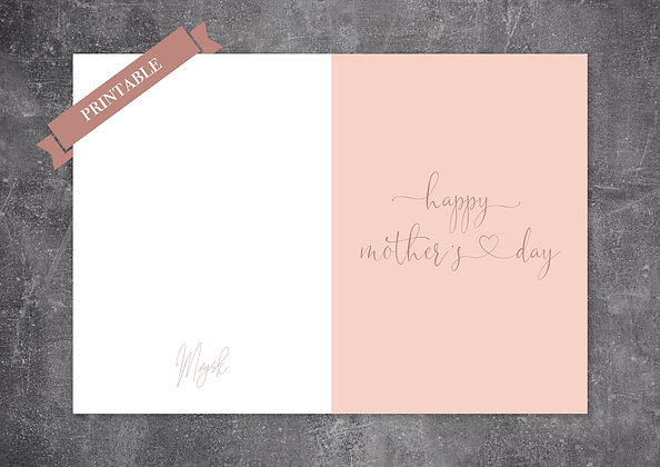 Lovely Pink Pastel Color Printable Mother's Day Greeting Card
