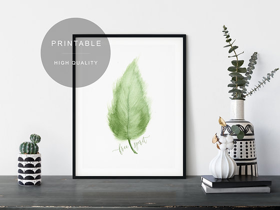 Green Watercolor Printable Wall Art