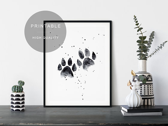 Black Paws Watercolor Printable Wall Art