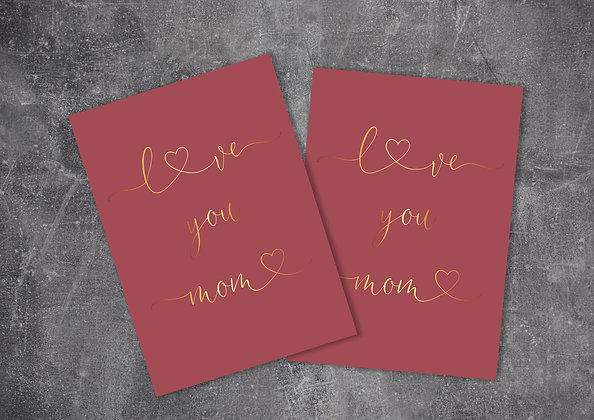 Beautiful Red Pastel Color Printable Mother's Day Greeting Card