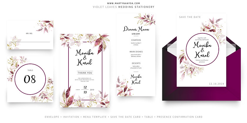 VIOLET Wedding Graphic Package