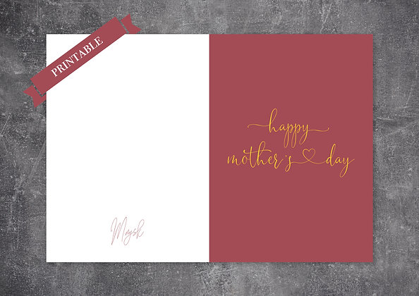 Red Pastel Color Printable Mother's Day Greeting Card