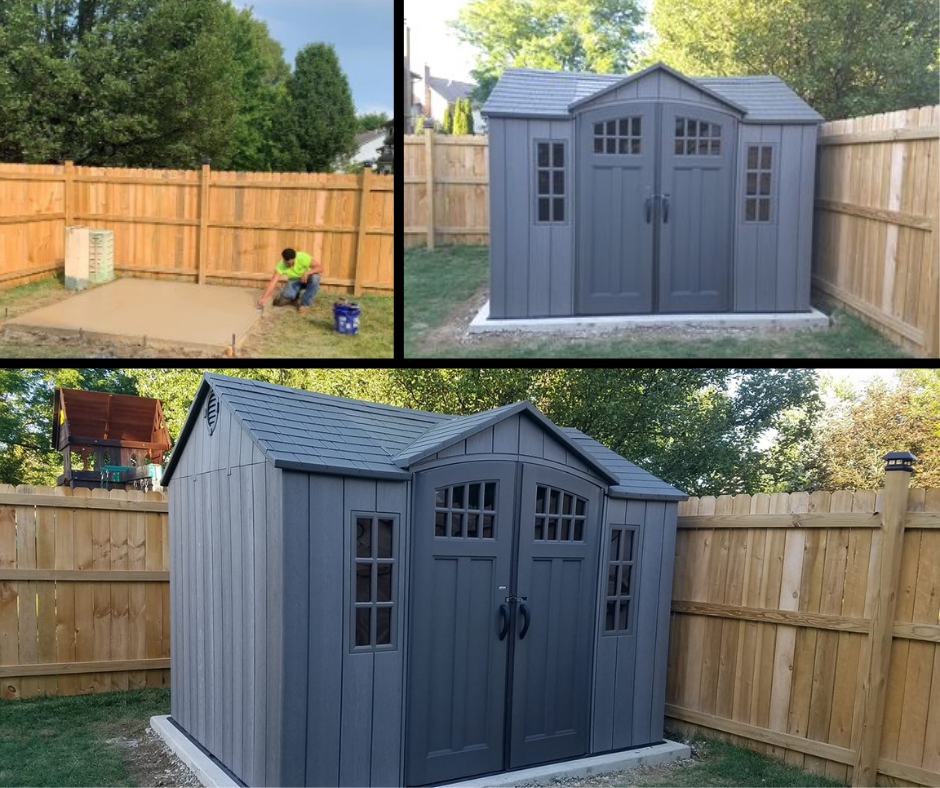 Concrete pad & gray shed in residential backyard