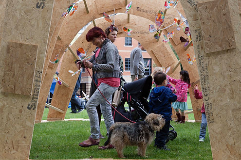 Experimental timber pavilion children engagine with artworks