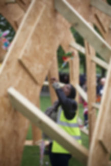 timber pavilion experimental interdisciplinary design art architecture sanctuary refuge innovation refugee critical practice sculptural structure  London South Bank