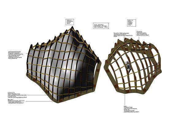 timber pavilion experimental interdisciplinary design art architecture innovation refugee critical practice sculptural structure  London South Bank 3d model
