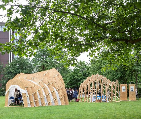 timber pavilion experimental interdisciplinary design art architecture sanctuary refuge innovation refugee critical practice sculptural structure  London South Bank embassy UHHCR