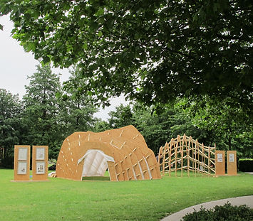 timber pavilion experimental interdisciplinary design art architecture innovation refugee critical practice sculptural structure  London South Bank