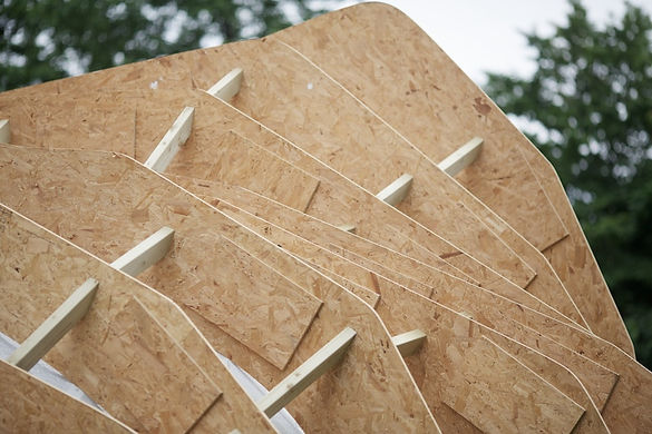 Detail of experimental timber pavilion framework, CNC cut into organic forms to create a sculptural structure