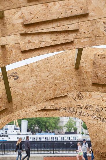 timber pavilion experimental interdisciplinary design art architecture sanctuary refuge innovation refugee critical practice sculptural structure  London South Bank embassy