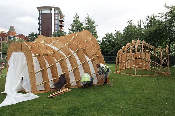 timber pavilion experimental interdisciplinary design art architecture sanctuary refuge innovation refugee critical practice sculptural structure  London South Bank