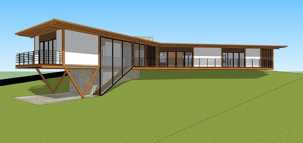Estudo de casa com estrutura de madeira e fechamentos em alvenaria Vimaden MG