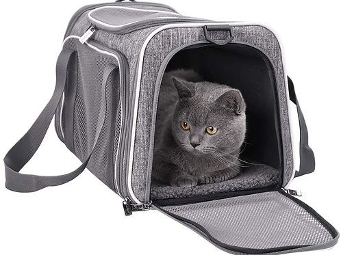 petisfam Soft Pet Carrier for Medium Cats and Small Dogs with Cozy Bed