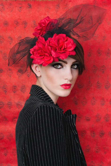 Red Rose with black tulle detail