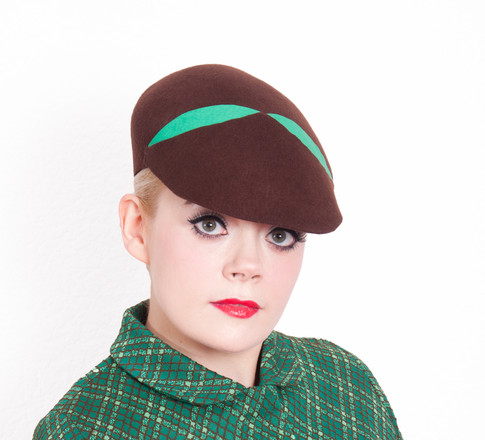 Brown and Green felt Hat