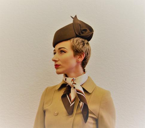 Brown felt asymetrical pillbox hat
