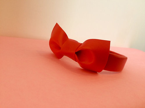 Red Vinyl Hairband with Bow