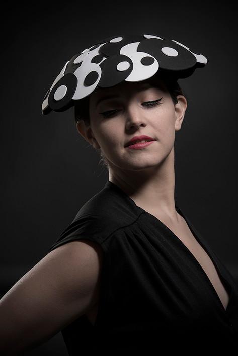 Black and white vinyl saucer hat