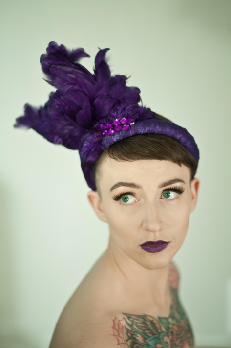 Purple feather headpiece