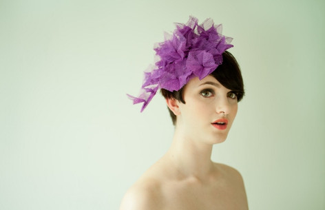 Purple sinamay origami hat