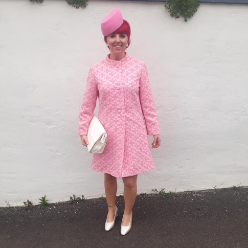 Pink Felt Pillbox Hat