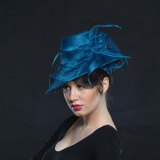 Teal Sinamay Hat