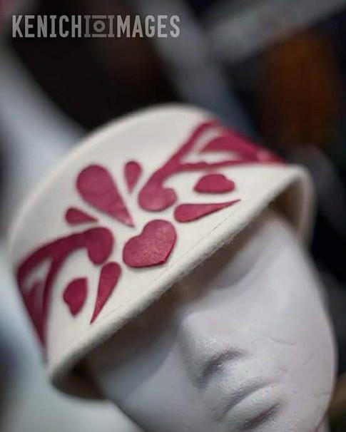 White felt cap with Paisley Pattern detail
