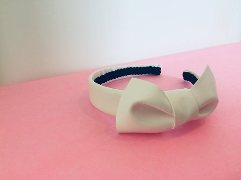 White Vinyl Hairband with Bow