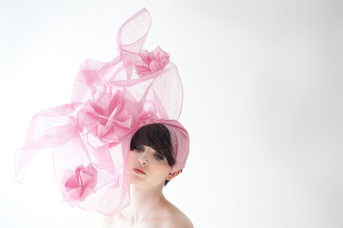 Pink sinamay origami hat