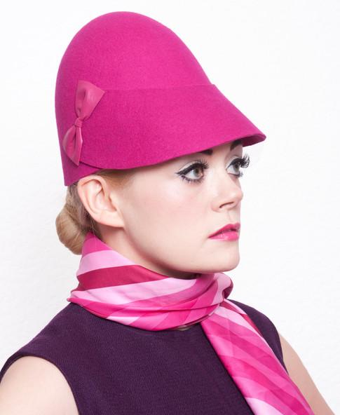 Pink felt cloche hat