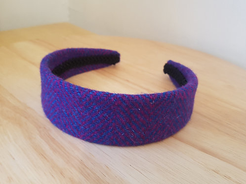 Blue/ Pink Harris Tweed Hairband