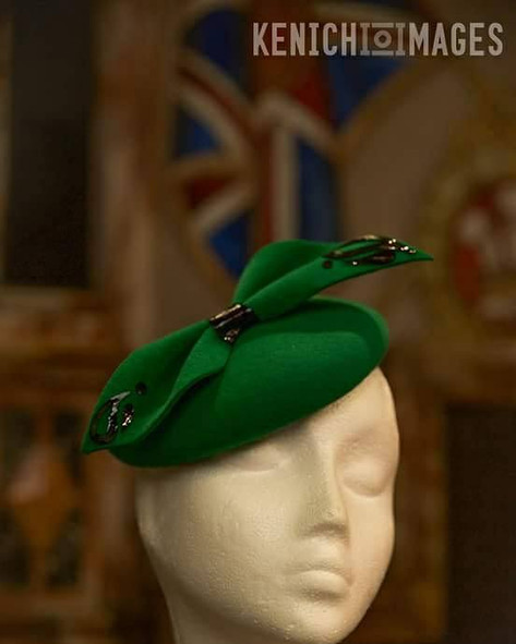 Green felt beret with Paisley Pattern detail