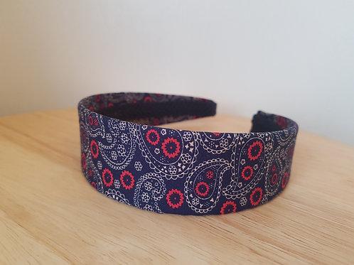 Navy Paisley Pattern Hairband