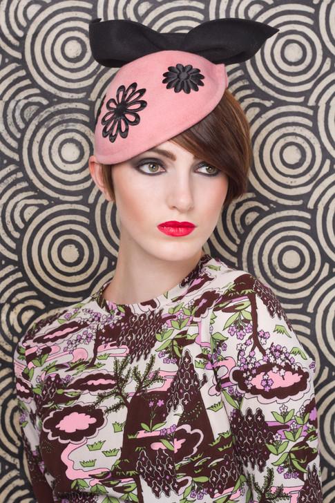 Pink felt beret with black bow