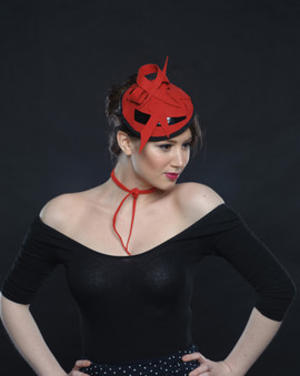 Red Felt and Black Patent Leather Hat