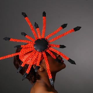 Orange Strip Straw and Swarovski Crystal Hat